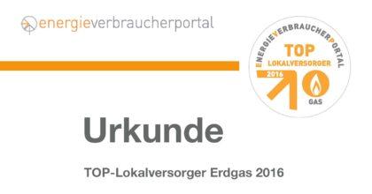 GEW Wilhelmshaven ist TOP-Lokalversorger 2016
