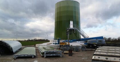 Aufbau der neuen Anlage im Jade-Windpark